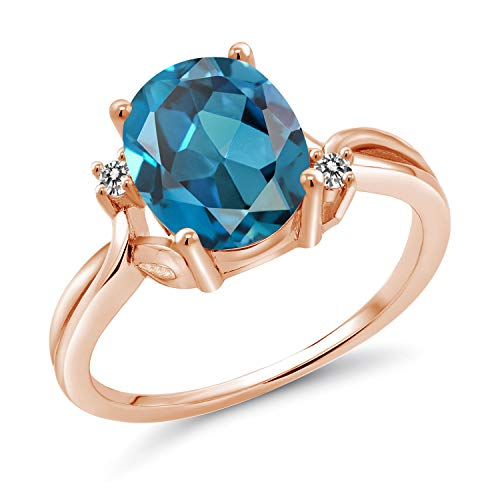 - Gem Stone King 2.83 Ct Oval London Blue Topaz White Diamond 14K Rose Gold Ring (Size 9)