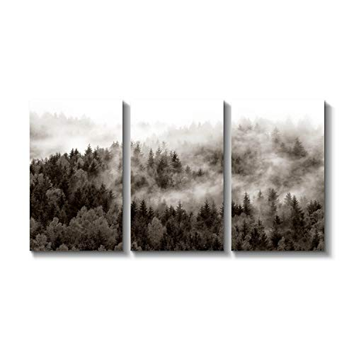 Grander Group Foggy Forest Canvas Picture Artwork - Misty Landscape Pine Trees Painting Wall Art for Living Room or Office (26'' x 16'' x 3 Panels)