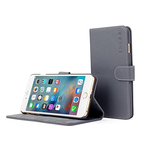 iPhone 6 Plus and 6S Plus Case, Snugg Grey Leather Flip Case [Card Slots] Executive Apple iPhone 6 Plus and 6S Plus Wallet Case Cover and Stand - Legacy - Highest 4 Case Ipad Rated