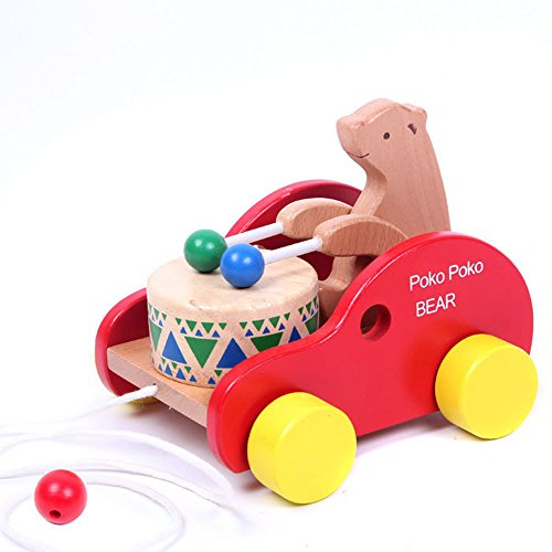 Push Toys For Toddlers : Bear knock the drum wooden push and pull toys for toddlers