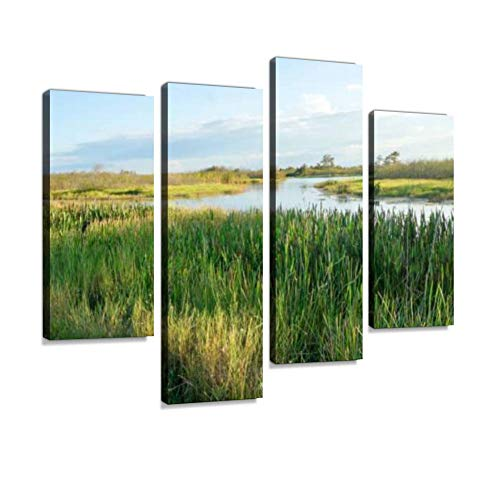 Pretty Swamp Canvas Wall Art Hanging Paintings Modern Artwork Abstract Picture Prints Home Decoration Gift Unique Designed Framed 4 Panel