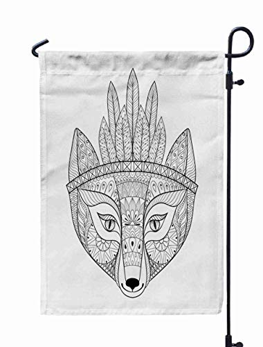 Welcome Garden Flag,Shorping 12x18Inch wild Fox Head War Ethnic Free Animal Adult Coloring Pages Patterned print Posters Logo Isolated White for Holiday and Seasonal Double-Sided Printing Yards Flags -