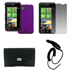 EMPIRE HTC Titan Black Leather Case Pouch with Belt Clip and Belt Loops + Purple Stealth Rubberized Snap-On Cover Case + Screen Protector + Car Charger (CLA) [EMPIRE Packaging]