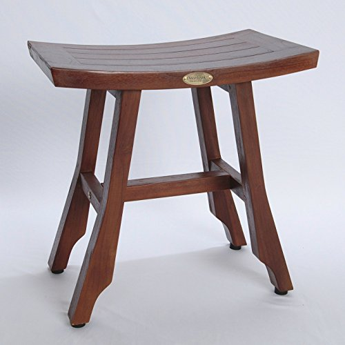 "18"" Teak Shower Stool with Adjustable Height Foot Pads"