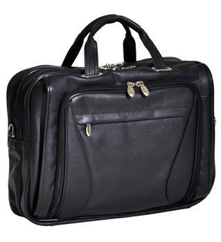 McKleinUSA IRVING PARK 15575 Black Leather Double Compartment Laptop Case by McKleinUSA