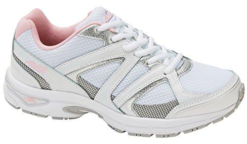Avia Women's Avi-Execute-II Running Shoe, White/Chrome Silver/Tickle Pink, 8 M US Avi Trail Running Shoe