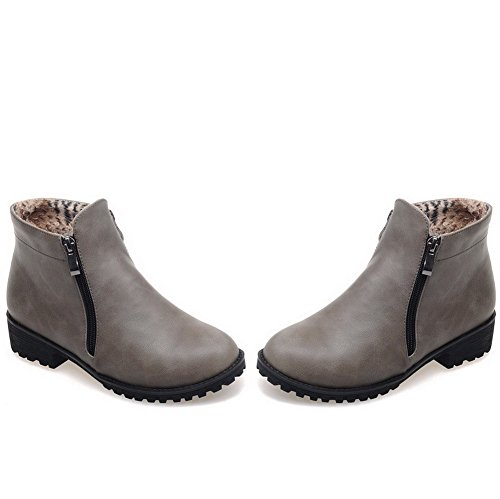 Allhqfashion Closed Women's Round Low Toe Gray Low top PU Boots Heels Solid HHA4OqwxW