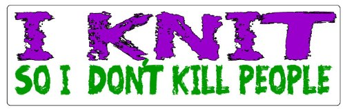 (HumperBumper.com Car Magnet for Cars, Trucks - I Knit So I Don't Kill People - Professionally Printed | Made in USA - 3