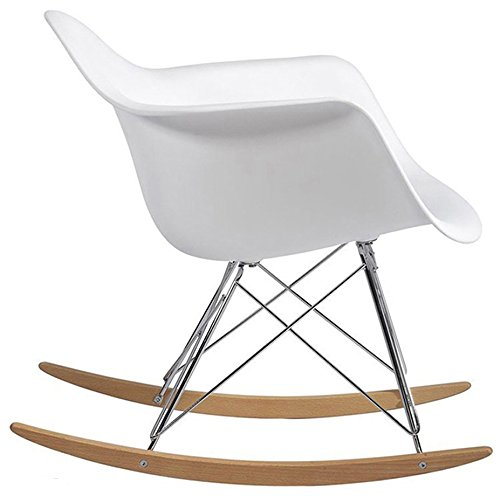 2xhome Eames Style Molded Modern Plastic Armchair – Contemporary Accent Retro Rocker Chrome Steel Eiffel Base – Ash Wood Rockers – Rocking Mid Century Style Lounge Arm Chair Matte Finish 41tUxBGg3jL