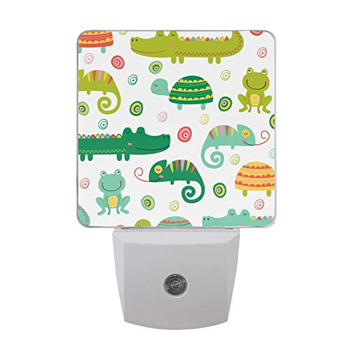 Pattern with Reptile and Amphibian Plug-in Night Lights, Warm White LED Nightlight, Dusk to Dawn Sensor, Kids, Adult, Bedroom, Hallway, Bathroom,Kitchen, Stairways