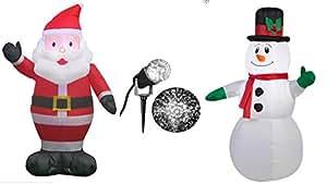 Hinchable de Papá Noel 3,5', inflable muñeco de nieve con gorro 3,5' blanco y de luz)