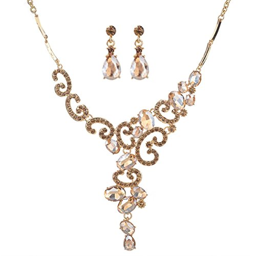 Botrong Women Crystal Necklace Jewelry Pendant Charm Chain Choker with Earrings Set (Gold)
