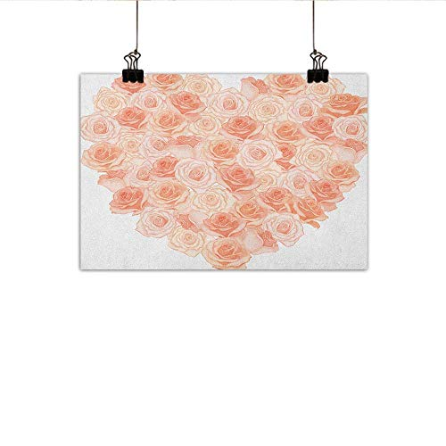 Littletonhome Peach Light Luxury American Oil Painting Love Valentines Day Inspired Heart Shaped Blooming Roses Bouquet Romantic Design Home and Everything 24