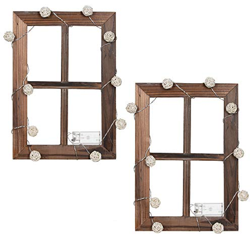 Elze Rustic Window Frame Wall Decor Rattan Fairy Lights 2 Pack - Decorative Vintage Farmhouse Wood Pane - Antique Style Distressed Wooden Barn Windows Frames - Farm House Panes Kit (11 x 15.8)