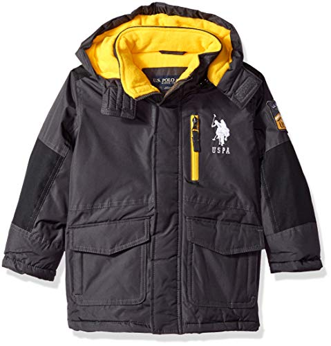 US Polo Association Boys' Toddler Parka Outerwear Jacket, Charcoal, 2T (Polo Jackets For Big Boys)