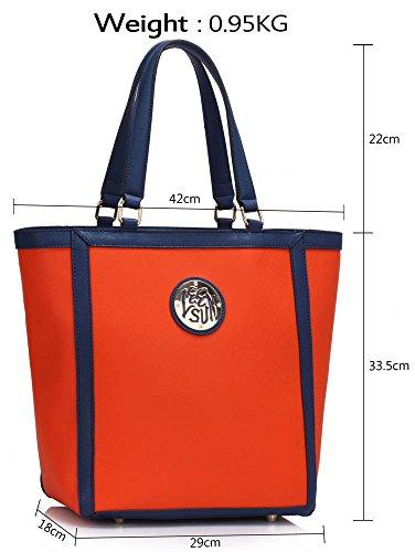 Para De Bolsas Diseño Del Imitación Grande Bolsos Nuevo 2 Totalizador Venta Cuero De Hombro Señoras Mujer Naranja Diseño De De rxrOn4
