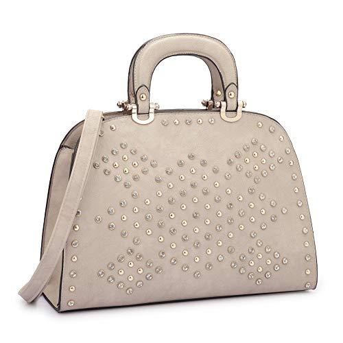 Handbags Domed Satchel - DASEIN Women's Rhinestone Handbags Domed Satchel Purses Top Handle Bags Shoulder Work Bag Tote Bag
