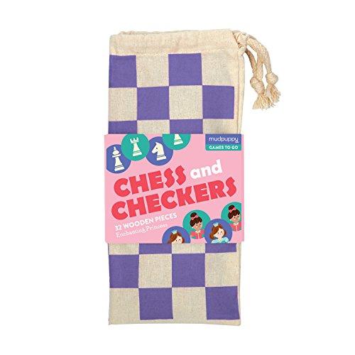 Mudpuppy Enchanting Princess Chess & Checkers Board Game