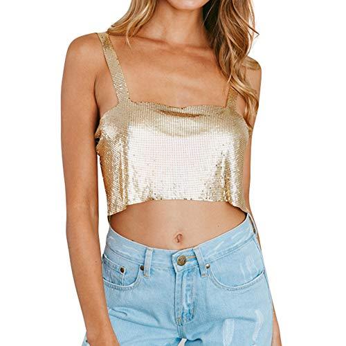 Flyrose Women Sexy Body Chain Sleeveless Metal Vest Sequin Crop Top Shirts Gold