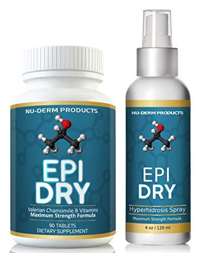 Epi Dry and Sage spray (combo kit) HYPERHIDROSIS TREATMENT pills stop sweating, sweaty hands Sweaty Feet Night Sweats Sweaty Underarms Naturally Proven Antiperspirant Vitamins treats.