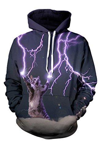 Cutiefox Womens Lighting Cat Print Pullover Hoodie Sweatshirt Black XL -