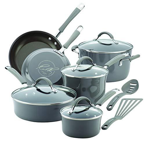 Rachael Ray Cucina Hard Porcelain Enamel Nonstick Cookware Set, 12-Piece, Sea Salt Gray (Renewed)