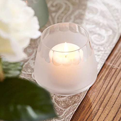 Cyl Home Hurricane Candleholders Etched Clear Glass Rim Frosted Colour Decor Dining Table Centerpieces Bowl Tea Light Holders Gifts for Wedding Housewarming Christmas, 3.5'' H x 3.9'' D, White