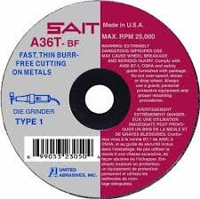 United Abrasives-SAIT 23040 Type 1 3-Inch x 1/16-Inch x 3/8-Inch Grade A36T Fast Cutting Wheel, 50-Pack