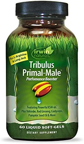 Irwin Naturals Tribulus Primal Male – Supports Enhanced Stamina and Energy with L-Arginine, Yohimbe, Long Jack, Ginseng, Pumpkin Seed Ashwagandha – 60 Liquid Softgels