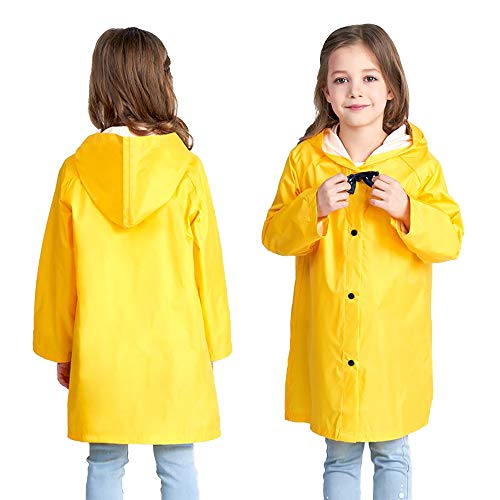 Yellow Kids Raincoat Lightweight Toddler Boy Rain Jacket Door Rain Coat Packable Rain Jacket Safety Rain Coat Watershed Rainwear Kids Rainwear Set Kids Jacket Under 15 Rainwear for Girls L