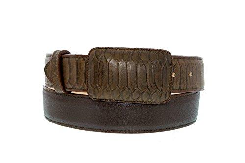EL PRESIDENTE Cowboy Professional- Men's Brown Python Snake Overlay Design Leather Cowboy Belt 38 ()