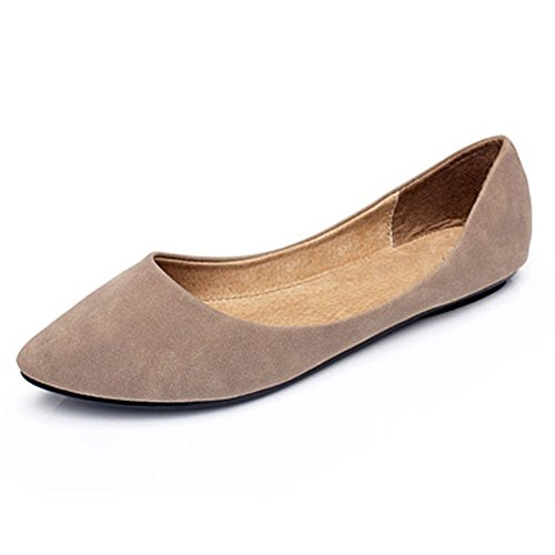 fereshte Women's Shoes Light Faux Suede Low Heels Ballet Flat apricot