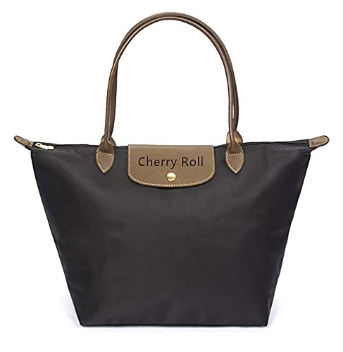 - Cherry Roll Women's Stylish Waterproof Tote Bag Nylon Travel Shoulder Beach Bags (Black)