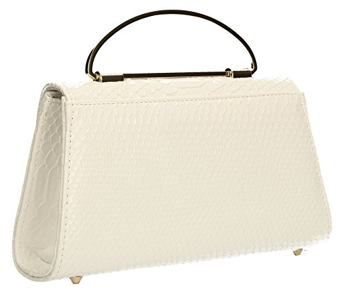 Bag Prom Smart Wedding SWANKYSWANS Ladies Womens Leather Snakeskin Faux White Party Laura Clutch Rq6ww