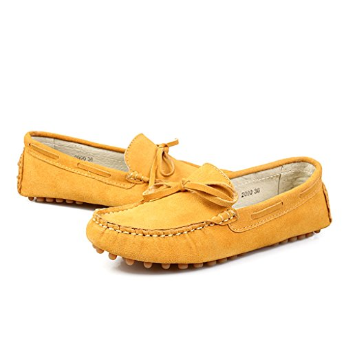 Minitoo Women's Fashion Knot Suede Leather Loafers Boat Moccasins Work Casual Shoes Yellow GoRQ2V8y