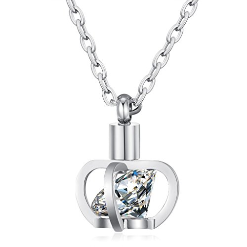 [Crown Cubic Zirconia Necklace Female Silver Plated Stainless Steel Vintage Pendant Mom Chain 16 Inch] (Vintage Halloween Costumes From The 80s)