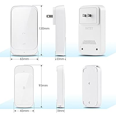 Intey Wireless Doorbell Home House Cordless Portable Kit Push Button and Receiver