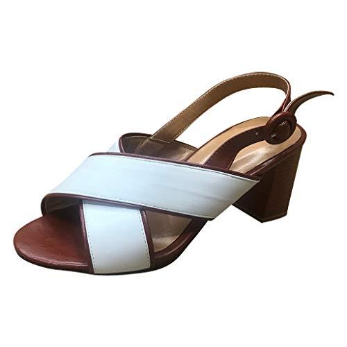 (✔ Hypothesis_X ☎ Women Low Heel Dress Shoes Kitten Heel Slingback Pumps Fish Mouth High Heel Shoes White)
