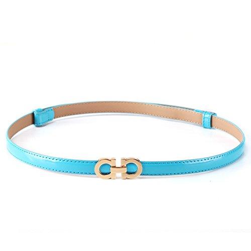 (MoYoTo Women's Stylish Thin Patent Leather Gold Skinny Waist Belts For Dresses (Sky Blue))