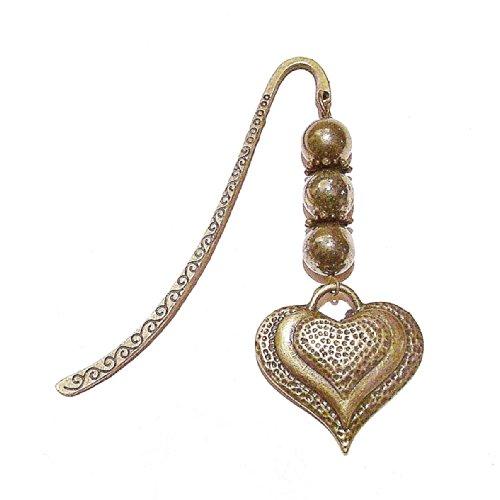 Marque Page en Laiton Ancien avec Charm de Coeur et Pyrite