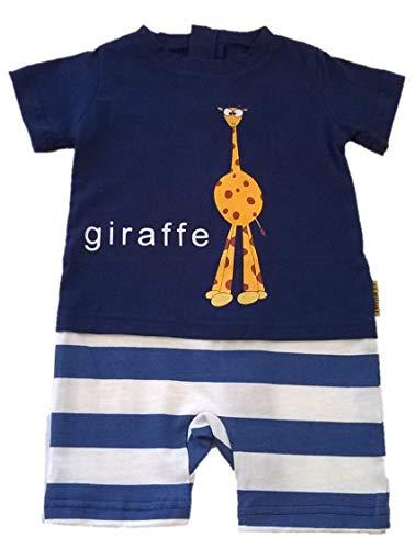 Giraffe Goofy - Strip Free One-Piece Giraffe Romper with a Back Zipper in Blue/White, 3T
