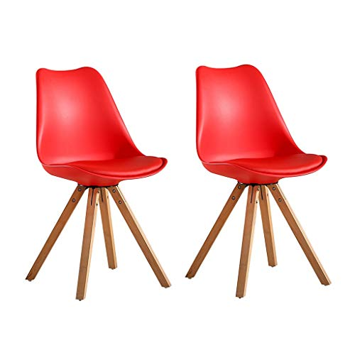 (Zcxbhd Modern Tulip Chairs Kitchen Dining Chairs, Set of 2  Solid Beech Wooden Square Leg Comfy Cushioned Padded PU Seat Bearable 300kg (Color : Red))