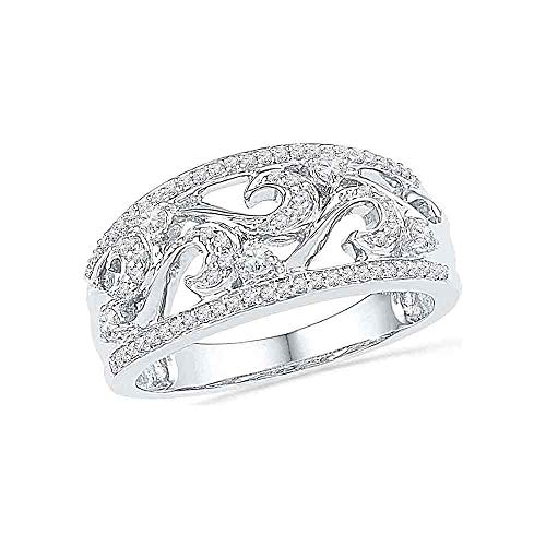 10kt White Gold Filigree Band - 10kt White Gold Womens Round Diamond Filigree Band Ring 1/3 Cttw