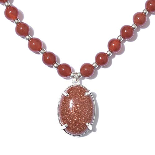 Red Quartzite Goldstone 925 Sterling Silver Pendant with Necklace 18 - Goldstone Sterling Silver Pendant
