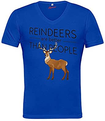 Reindeers Are Better Than People Funny Slogan Unisex V-neck T-shirt XX-Large