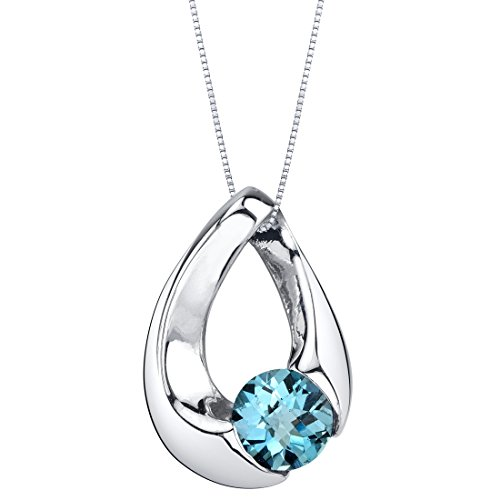London Blue Topaz Sterling Silver Slider Pendant Necklace