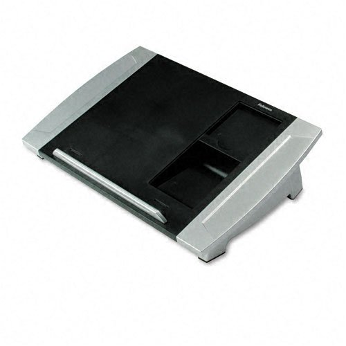 Fellowes : Angle-Adjustable Telephone Stand, 15 1/2w x 10 5/8d x 4h, Black/Silver -:- Sold as 2 Packs of - 1 - / - Total of 2 Each
