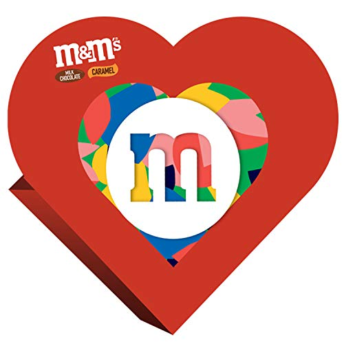 M&M'S Valentine's Milk Chocolate & Caramel Candy Heart Gift Box 7.2-Ounce Box (Heart Candy Bars)