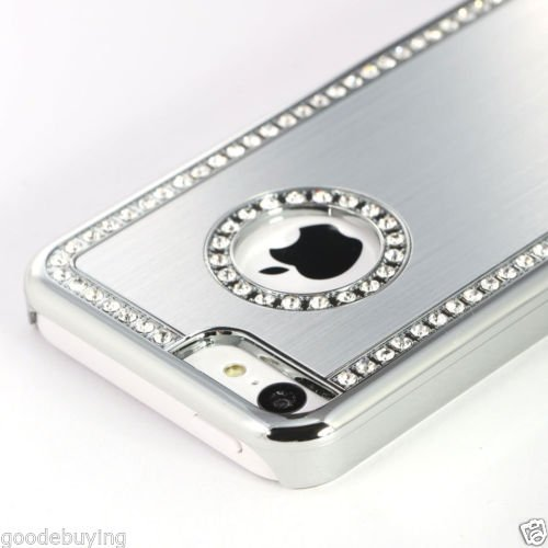 Smart Style Iphone 4/4S Deluxe Silver brushed aluminum diamond case bling cover for iphone 4/4S