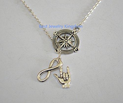 Silver compass Necklace graduation - Men's compass Necklace,Infinity Necklace in Silver,I love you sign language necklace, Silver I Love You sign, Silver ASL I love you charm ()